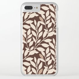 Leaves and Branches in Cream and Brown Clear iPhone Case
