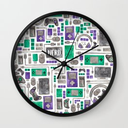Nerdy Gamer Pattern Wall Clock