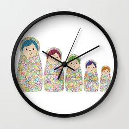 Rainbow Matryoshka Nesting Dolls Wall Clock