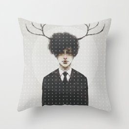 BLACK SUIT ANTLERS Throw Pillow