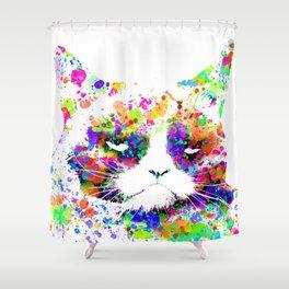 A grumpy pussy cat Shower Curtain