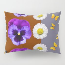 BROWN & PURPLE PANSY WHITE DAISY BUTTERFLIES SPRING Pillow Sham