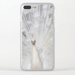 White Peacock folding fan Clear iPhone Case