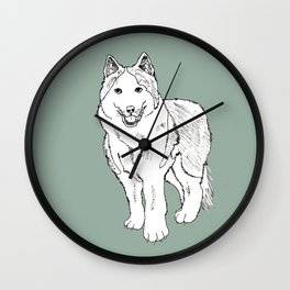 Sketch of siberian malamute Wall Clock