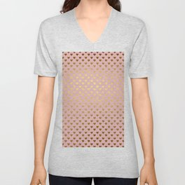 Gold and pink sparkling and shiny Hearts pattern Unisex V-Neck