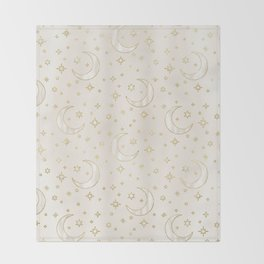Celestial Pearl Moon & Stars Throw Blanket