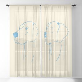 Weimaraner (Beige and Blue) Sheer Curtain