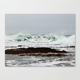 Green Wave Breaking Canvas Print