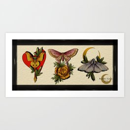 Moth Trio Art Print