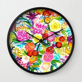 Neon Summer Floral // Small print Wall Clock