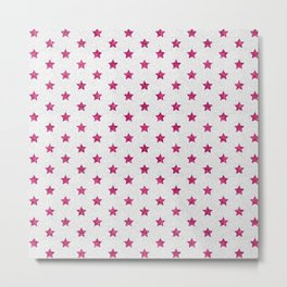 Abstract neon pink white faux glitter stars pattern Metal Print