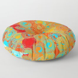 Turquoise, Red, and Yellow Swirls Floor Pillow