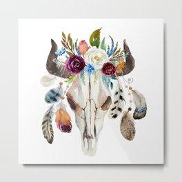 Dreamcatcher skull feathers & flowers Metal Print