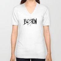 boston V-neck T-shirts featuring Boston by Talula Christian