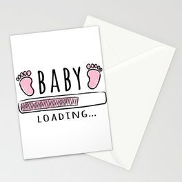 pregnancy announcement baby is loading Stationery Cards