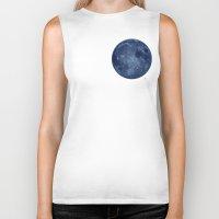 dark side of the moon Biker Tanks featuring Dark Side of the Moon - Painting by Nicole Cleary