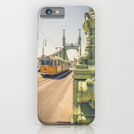 Tram on the the bridge of Liberty Budapest Hungary Szabadság híd iPhone Case