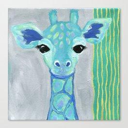 Giraffe Painting, Baby Giraffe, Blue Giraffe, Child's Room Decor, Gray Green Blue Art Canvas Print
