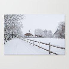Farm House in the Snow Canvas Print