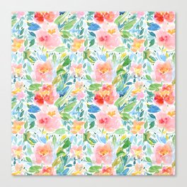 Busy Watercolour Floral Canvas Print