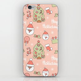 cute pattern with santa claus, christmas tree, candy cane, gift box, sock, lollipop and holly iPhone Skin