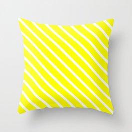 Neon Yellow Diagonal Stripes Throw Pillow