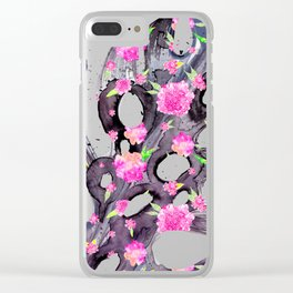 Tropical Leaf - Philodendron Black Pink Clear iPhone Case