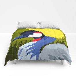 Grey Crowned Crane Comforters