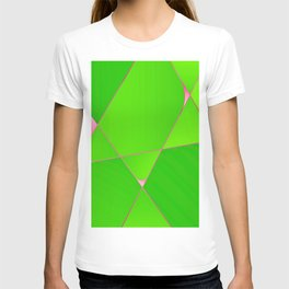 Posh green and pink geometric lines pattern for home decoration T-shirt