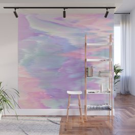Abstract pink lavender teal ikat brushstrokes Wall Mural