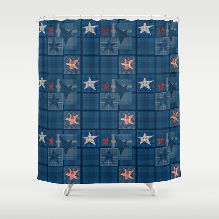 Blue denim patchwork . Shower Curtain by fuzzyfox85 | Society6