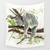 koala Wall Tapestries featuring Koala by Patrizia Donaera ILLUSTRATIONS