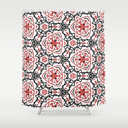 Frenetic from the Black & Red & White All Over Collection Shower Curtain