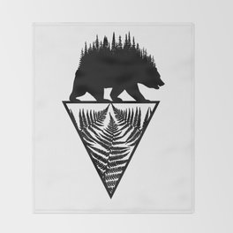 Fern and Bear Throw Blanket