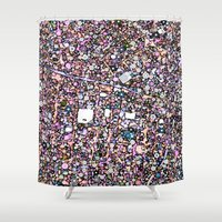 maps Shower Curtains featuring Funky Maps, SAN FRANCISCO by MehrFarbeimLeben