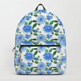 Elegant blush blue green watercolor peonies floral pattern Backpack