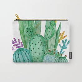 Cacti and succulents . Watercolor . Carry-All Pouch