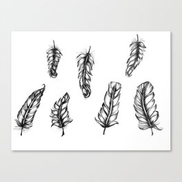 Inked Feather Pattern Canvas Print