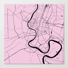Bangkok Thailand Minimal Street Map - Pastel Pink and Black Canvas Print