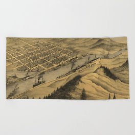 Vintage Map of Grand Haven MI (1868) Beach Towel