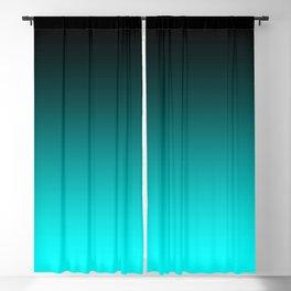 Black Aqua Neon Nights Ombre Blackout Curtain