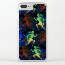 Watercolor women runner pattern on dark background Clear iPhone Case