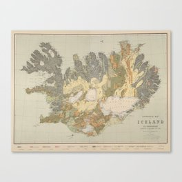 Vintage Geological Map of Iceland (1901) Canvas Print