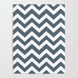 Cadet - grey color - Zigzag Chevron Pattern Poster