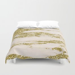 Marble - Gold Marble Glittery Light Pink and Yellow Gold Duvet Cover