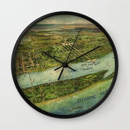 Panoramic view of West Palm Beach, North Palm Beach and Lake Worth, Florida (1915) Wall Clock