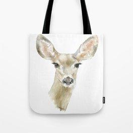 Doe Deer Watercolor Painting Fine Art Tote Bag