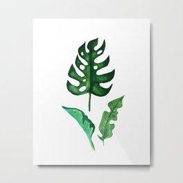 Watercolour Tropical Leaves Metal Print