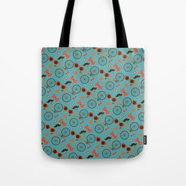 Colorful Hipster Elements Pattern on teal Tote Bag