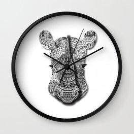 Zentangel Rhino Close-up Wall Clock